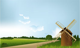 Country landscape with mill. Vector illustration of green spring hills Royalty Free Stock Image