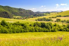 Country landscape in northern Slovakia. Country landscape in northern Slovakia, Rajec Valley area royalty free stock photography