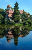 Country landscape with a pond and the palace Royalty Free Stock Images