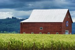Country landscape with red barn royalty free stock photos