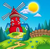 Country landscape with red mill. Color illustration Stock Photography