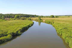 Country landscape with small river Stock Image