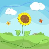 Country landscape with sunflowers and clouds. Vector illustration Stock Image