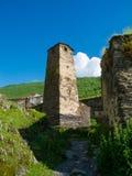 Country landscape in Svaneti. Tower in Ushguli, Svaneti, Georgia Stock Images