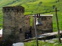 Country landscape in Svaneti. Towers in Ushguli, Svaneti, Georgia Stock Photos
