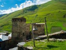 Country landscape in Svaneti. Towers in Ushguli, Svaneti, Georgia Stock Image