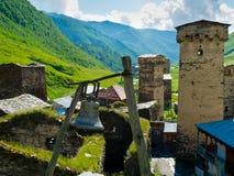 Country landscape in Svaneti. Towers in Ushguli, Svaneti, Georgia Royalty Free Stock Image