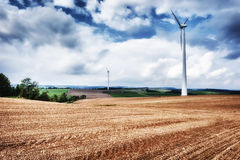 Country landscape with wind turbines Royalty Free Stock Photography