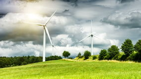Country landscape with wind turbines. Ecological concept stock footage