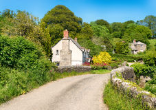 Country Lane in Cornwall. Cottages on a country lane at Couch's Mill near Lostwithiel in Cornwall Stock Photos