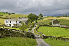 Country lane and farm stock image