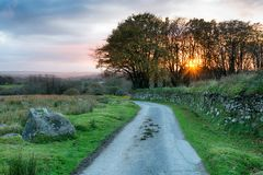 Country Lane in Cornwall. A country lane over Bodmin Moor in the Cornwall countryside stock photography