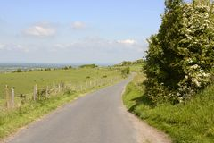 Country lane on South Downs. Sussex. England Royalty Free Stock Photos