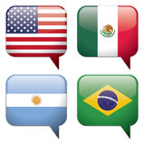 Country / Language Bubbles. 4 Country and Language Bubbles: USA (English), Mexico (Spanish), Argentina (Spanish) and Brazil (Portuguese). EPS 10, vector Stock Photo