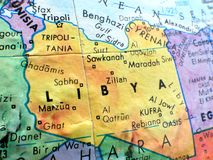 Country of Libya  focus macro shot on globe map for travel blogs, social media, website banners and backgrounds. Country of Libya  focus macro shot on globe map Royalty Free Stock Images