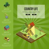 Country life banner with isometric elements. Country life banner with isometric old windmill in rural landscape. Agricultural constructions and machinery Stock Photography