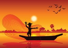 Country life,man throw fish net to catch fish on boat in pond la. Ke,silhouette style,on sunset time, illustration Royalty Free Stock Images