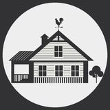 Country Living. Garden house with weather vane on the roof. Country Living stock illustration