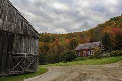 Country Living. Vermont countryside farming residence among fall foliage Royalty Free Stock Photo