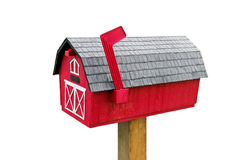 Country Mailbox. Red Mailbox on a Country Road Stock Photo