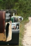 Country Mailboxes. Mailboxes along a country road stock photos