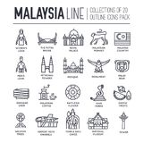Country Malaysia travel vacation of place and feature. Set of architecture, fashion, people, item, monument background. Concept. Infographic traditional ethnic Royalty Free Stock Photos