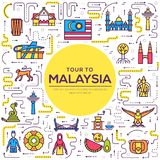 Country Malaysia travel vacation of place and feature. Set of architecture, fashion, people, item, monument background. Concept. Infographic traditional ethnic royalty free illustration