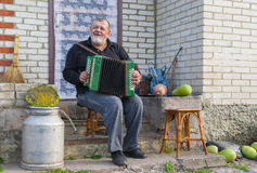 Country-man playing button accordion Royalty Free Stock Image