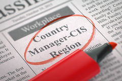 Country Manager-CIS Region Join Our Team. 3D. A Newspaper Column in the Classifieds with the Small Ads of Job Search of Country Manager-CIS Region, Circled with royalty free stock images