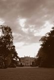 Country Manor. An English country house viewed from the grounds, black and white royalty free stock photos