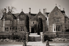 Country Mansion and Gardens. Old English Country Mansion and Gardens in Black and White stock images