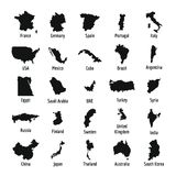 Country map icon set, simple style Royalty Free Stock Photos