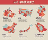 Country maps infographic template. USA, Japan, Canada, China, Germany, Saudi Arabia. Selectable territories. Vector. Country maps infographic template. USA stock illustration