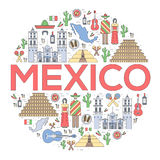 Country Mexico travel vacation guide of goods, places and features. Set of architecture, food, fashion, items, nature Royalty Free Stock Image
