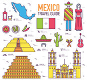 Country Mexico travel vacation guide of goods, places and features. Set of architecture, food, fashion, items, nature Royalty Free Stock Photos