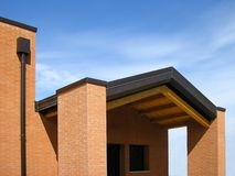 Country modern building. In brick and wood Stock Photo