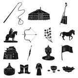 Country Mongolia black icons in set collection for design.Territory and landmark vector symbol stock web illustration. Country Mongolia black icons in set Stock Photo