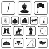 Country Mongolia black icons in set collection for design.Territory and landmark vector symbol stock web illustration. Country Mongolia black icons in set Stock Photography