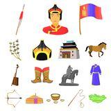 Country Mongolia cartoon icons in set collection for design.Territory and landmark vector symbol stock web illustration. Country Mongolia cartoon icons in set Stock Image
