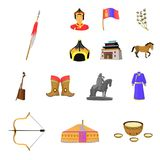 Country Mongolia cartoon icons in set collection for design.Territory and landmark vector symbol stock web illustration. Country Mongolia cartoon icons in set Royalty Free Stock Photos
