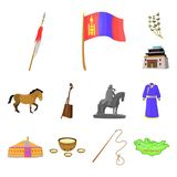 Country Mongolia cartoon icons in set collection for design.Territory and landmark vector symbol stock web illustration. Country Mongolia cartoon icons in set Royalty Free Stock Image