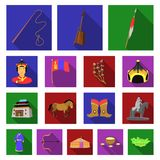 Country Mongolia flat icons in set collection for design.Territory and landmark vector symbol stock web illustration. Country Mongolia flat icons in set Royalty Free Stock Image