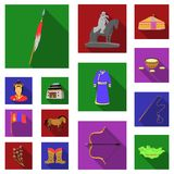 Country Mongolia flat icons in set collection for design.Territory and landmark vector symbol stock web illustration. Country Mongolia flat icons in set Stock Photography