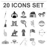 Country Mongolia monochrome icons in set collection. For design.Territory and landmark vector symbol stock  illustration Stock Photos