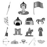 Country Mongolia monochrome icons in set collection for design.Territory and landmark vector symbol stock web. Country Mongolia monochrome icons in set Stock Image