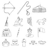 Country Mongolia outline icons in set collection for design.Territory and landmark vector symbol stock web illustration. Country Mongolia outline icons in set Royalty Free Stock Photo