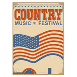 Country music background with text.Vector old poster with flag Stock Photography