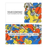 COUNTRY MUSIC BUSINESS CARD Festival Vector Illustration Set. COUNTRY MUSIC BUSINESS CARD American Cowboy Western Festival Vector Illustration Set for Print royalty free stock photography