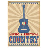 Country music festival background with text.Vector  on. Country music festival background with acoustic guitar.Vector poster illustration  on white Stock Image