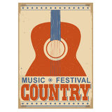 Country music festival background with text.Vector old poster w Stock Photography